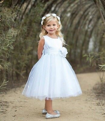 Flower Girl Dress Rose Bud Tulle Layers Pageant Wedding Ivory Purple Blue Coral