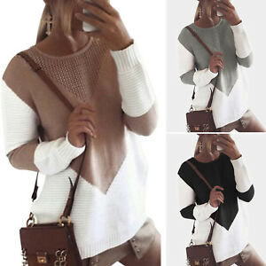 Women-Basic-Cosy-Color-Block-Knitted-Baggy-Jumper-Winter-Tops-Long-Sleeve-Casual