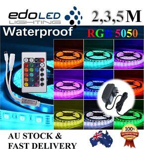 2M-3M-5M-RGB-5050-SMD-60-LEDs-m-Waterproof-12V-Led-Strip-Light-24-Key-Remote