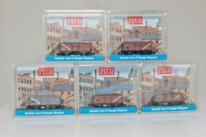 Peco, N Gauge, A collection of 5 boxed 4 wheel Steel Mineral Wagons