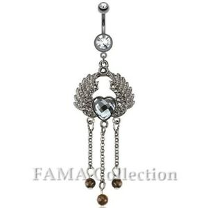 Surgical Steel Prong Set Belly Bar Navel Ring With Angel Wings And Dangle Bead