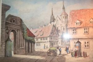 Braunschweig Aquarell Magniviertel 1828 Englisch Frischoriginal