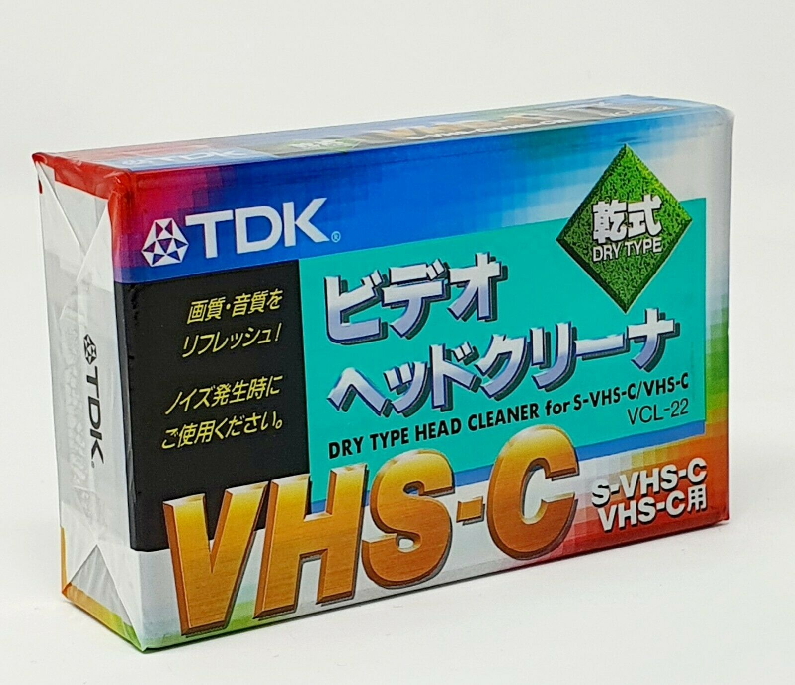 TDK VHS-C and S-VHS-C DRY TYPE HEAD CLEANER VIDEO HEAD CLEANING CASSETTE VCL-22