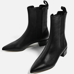 7156a60c058a Details about New Women Black Leather Ankle Boots Low Heel Pointed Toe Pull  On Line Warm Shoes