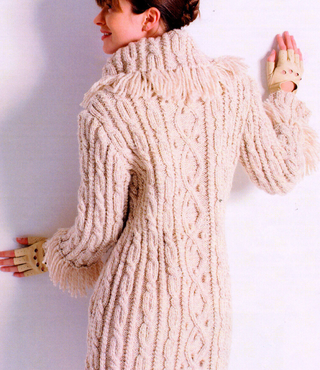 Womans Aran Cable Bobble 3 4 Coat Fringed Collar Cuffs 32 45