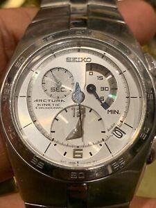 Men-039-s-Seiko-Arctura-7L22-0AA0-Kinetic-Chronograph-Wristwatch-42mm-Mint