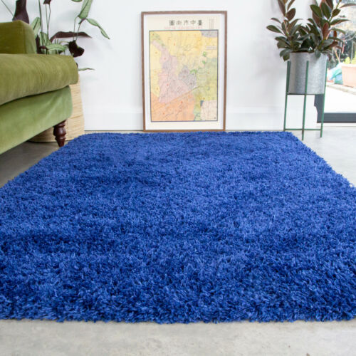 Non Shed Navy Blue Shaggy Rug Small Large Living Room Rugs Soft Bedroom Area Rug
