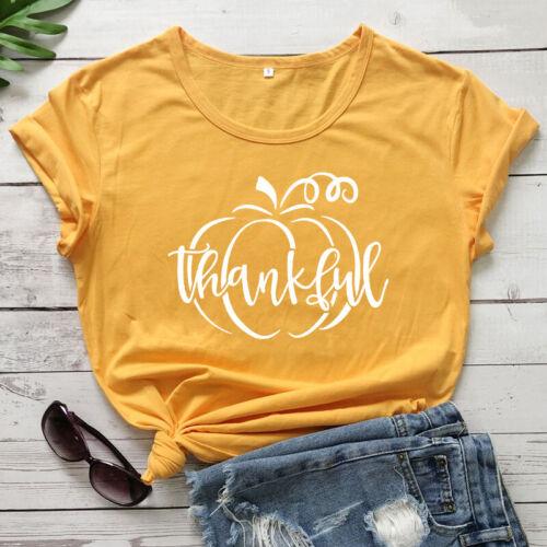 Thankful Pumpkin T-Shirt Autumn Women Graphic Thanksgiving Holiday Tee Shirt Top