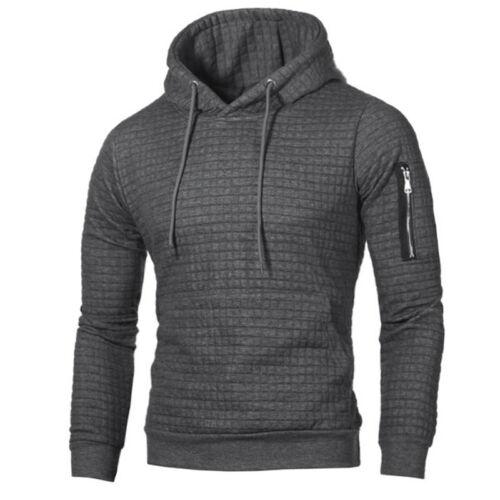 Mens Solid Casual Hoodie Warm Fleece Zip Up Jacket Sweatshirt Hooded Top HOT UK