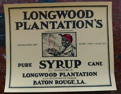 Longwood Plantation/'s Pancake Syrup Tin CAN LABEL Black Americana Baton Rouge #2