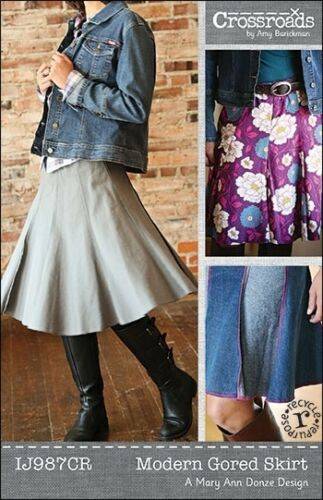 NEW MODERN GORED SKIRT SEWING PATTERN INDYGO JUNCTION IJ987CR