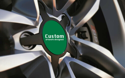Set of 4 Car Alloy Wheel Centre RACING GREEN Badges 36mm-90mm With Without Logo