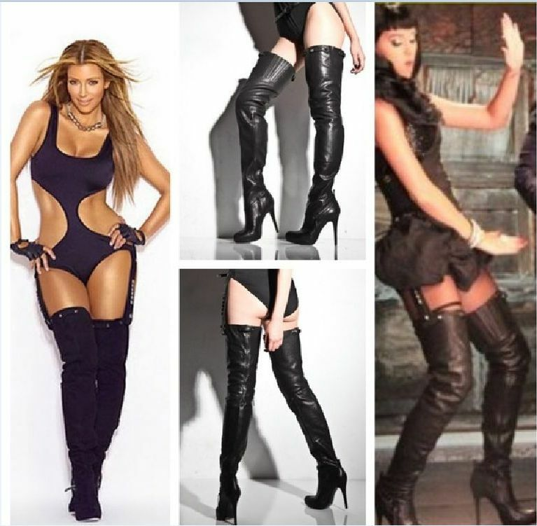 SUPER SEXY    REPORT SIGNATURE  KANE  BLACK LEATHER OVER THE KNEE BOOTS 6.5