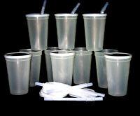 12 16 ounce black plastic drinking glasses cups lids straws mfg usa ebay. Black Bedroom Furniture Sets. Home Design Ideas