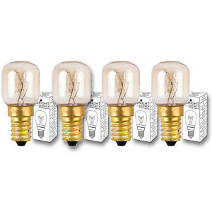 4x Bright Source 15w or 25w E14 Oven Lamp 300° Heat Resistant Cooker Bulb 240v