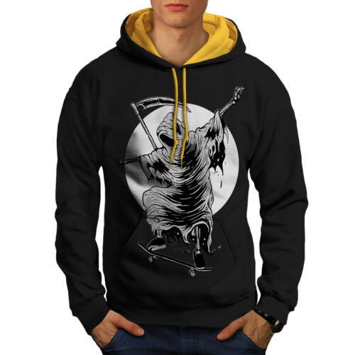 Hoodie Hood New Reaper Horror Black Contrast Skateboard gold Men qOw86x8PnI