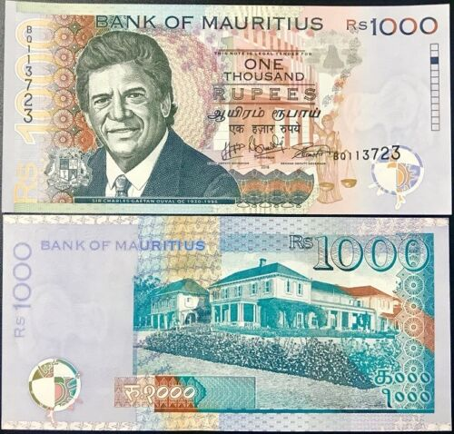 MAURITIUS 1,000 RUPEES 2016// 2017 P 63 NEW DATE /& SIGN UNC
