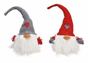Détails sur 2 Père Noël SECRET Gnome gris blanc rouge décoration 25 cm Noël  personnage Deco Décoration- afficher le titre d\'origine