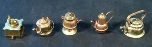 Rustic-Miniature-Kettle-Copper-and-Brass-Lot-and-Grinder-w-Lids-Goose-Vintage