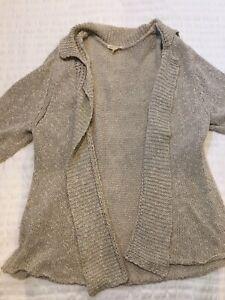 Eileen-Fisher-Womens-Short-Sleeve-Open-Front-Cardigan-Sweater-Beige-Size-XL