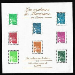 Bloc-Feuillet-2002-N-45-Timbres-France-Neufs-Les-Couleurs-de-Marianne-en-Euros