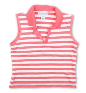 JG-Hook-Womens-Coral-White-Sleeveless-Striped-Polo-Shirt-Size-Medium