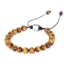 Fashion Mens AAA Tigers Eye Beads Shamballa Macrame Beaded Charm Bangle Bracelet