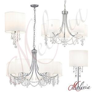 lustre-applique-murale-cristal-tissu-blanc-Lampe-Suspension-Plafonnier