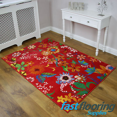 View 5 D85 R Red Floral Rug 1 20 X 1 70 Lounge Summer House Rrp 89 Ebay