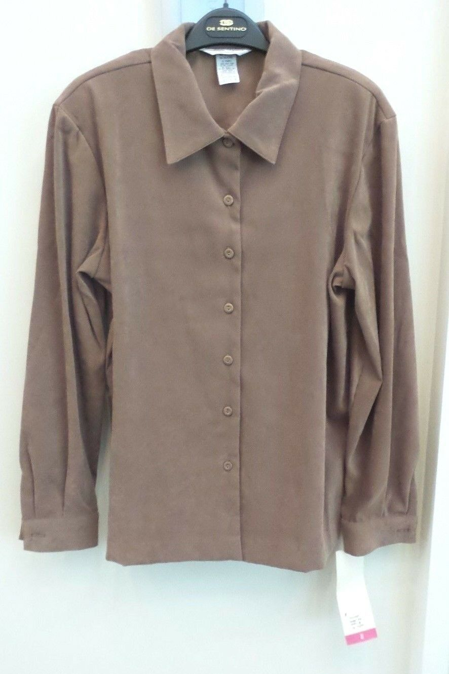SHARON YOUNG BRAND FAUX SUEDE  MOLESKIN  LONG SLEEVE SHIRT, braun, Größe 8, NWT