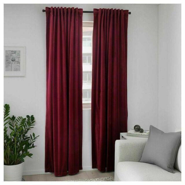 Black Room Darkening Curtains.Ikea Sanela Room Darkening Curtains 2 Panel 1 Pair Dark Red 55 X 98 Blackout