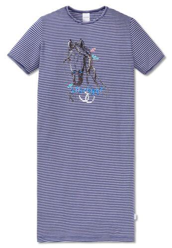 Schiesser Ragazza-CAVALLI Cavalli Mondo Serie Camicia da notte corta blu a strisce