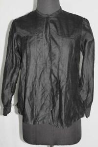 Constructif Rare French Antique Edwardian Noir Poli Chemisier Coton Taille M êTre Nouveau Dans La Conception
