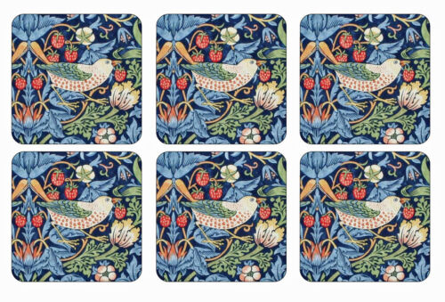 Morris /& Co for Pimpernel Strawberry Thief Blue Coasters Set of 6