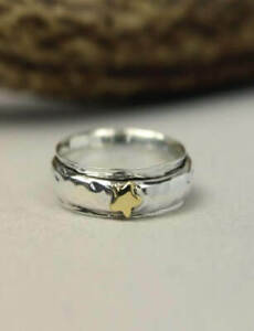 Solid-925-Sterling-Silver-Spinner-Ring-Meditation-Ring-Star-Ring-Size-st8255