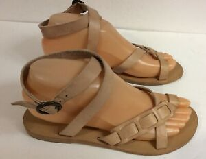 Valia Gabriel Women/'s Oreti Sandals Ankle Strap Khaki Beige Leather Size 40 10
