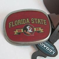 Fla State Seminole Men's 1.5 Inch Brown Belt Seminole Buckle L/xl 48 Inch Long