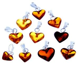 WHOLESALE-JOB-LOT-10-Baltic-Amber-amp-Silver-Handmade-Heart-Carved-PENDANTS