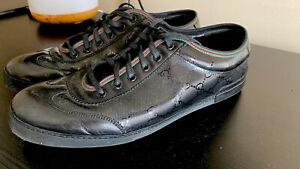Gucci-GG-Logo-Imprime-Black-Leather-Low-Top-Sneaker-Shoes-Sz-10-1-2-W-BOX