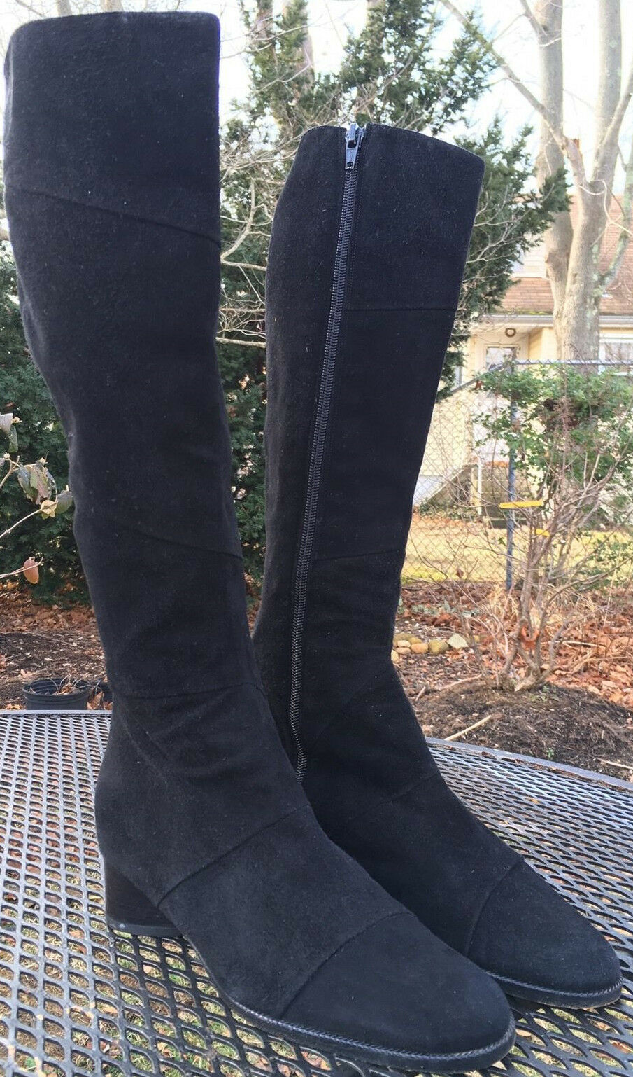 World Studio Black Suede Knee High Boots Made In . Size 6 M