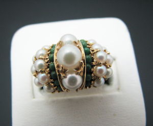 C505 Stunning Vintage Pearl and Green Agate Cluster Ring in 14k Yellow gold