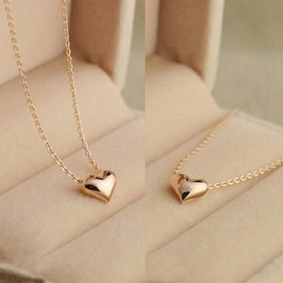 Chic Tiny Elegant Small Gold Love Heart Cute Short Necklace Present Great Gift