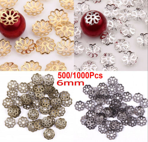 1000Pcs Silver//Gold Plated Metal Flower Bead Caps 6mm Jewelry Making Findings