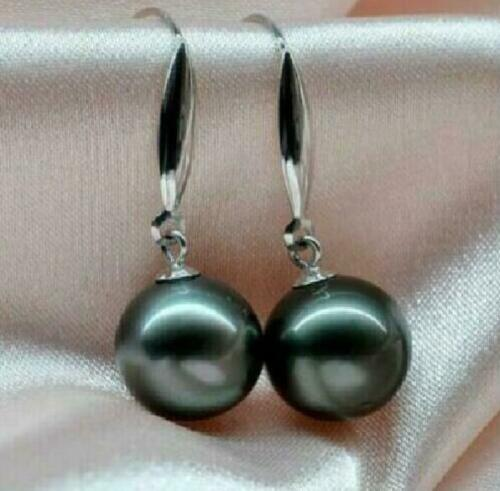 Details about  /Huge AAAA16mm South Sea black shell pearl diagonal earrings14K white Gold