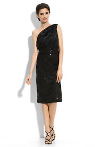 Image Is Loading Tadashi Shoji One Shoulder Mesh Sequin Dress Sz