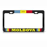Moldova Country Flag Black Heavy Duty Steel License Plate Frame Tag Border
