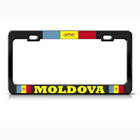 Moldova Country Flag Black Heavy Duty Steel License Plate Frame Tag Border