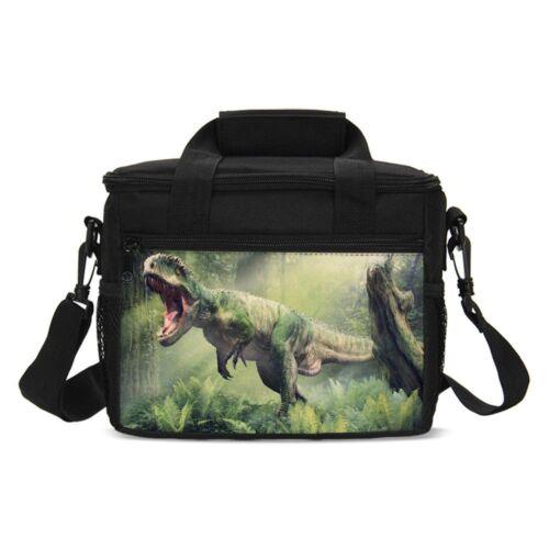 Vivid Dinosaur Kid isolé déjeuner sac avec sangle réglable zip Récipient Fourre-tout