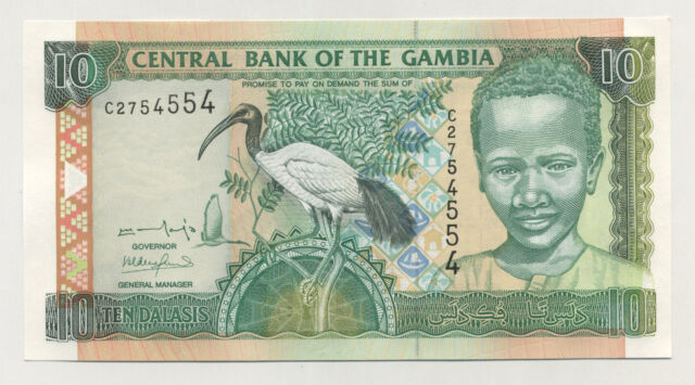 Gambia 10 Dalasis ND 2001 Pick 21.a UNC Uncirculated Banknote