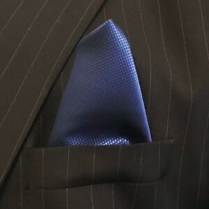 New-Men-039-s-Blue-Satin-Silk-Pocket-Square-Hankie-Hankerchief-NWOT